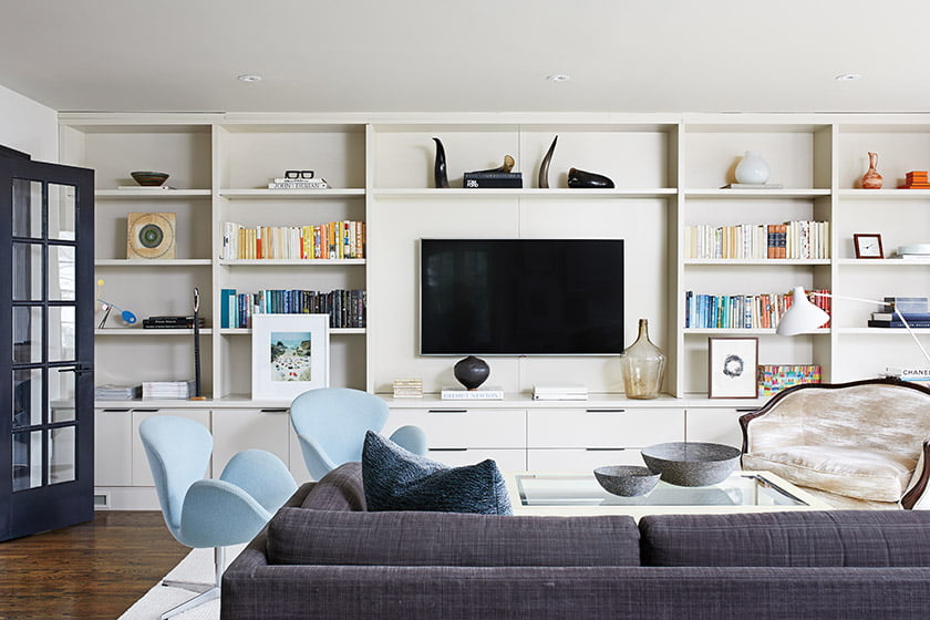Built-ins in the family room provide plenty of closed storage.