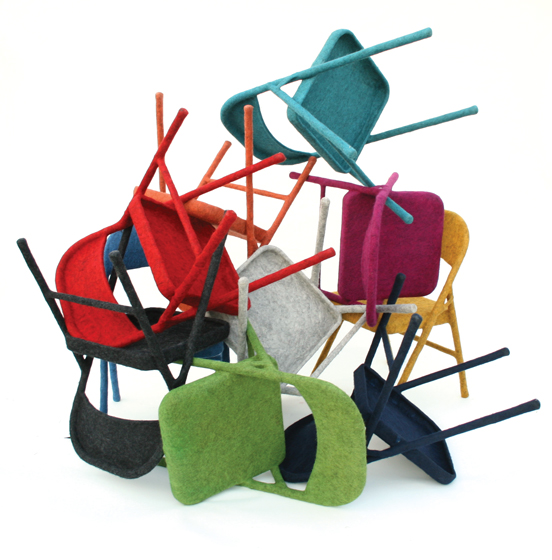 Hand-Felted Folding Chairs by Tanya Aguiñiga.