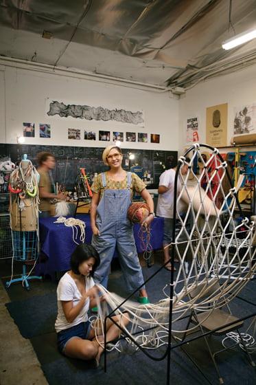 Tanya Aguiñiga specializes in fiber work.