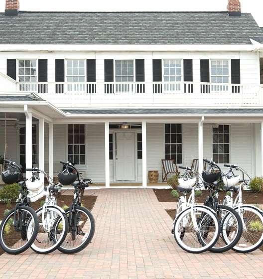 One entrance to the resort features space for complimentary bikes, a popular mode of transport.