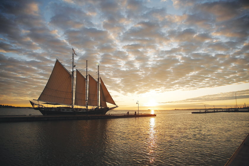 The 105-foot, gaff-rigged Schooner Alliance plies the York River during two-hour cruises.