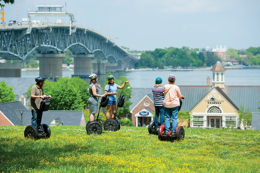 Tourists take in the sights via Segway, courtesy of Patriot Tours.