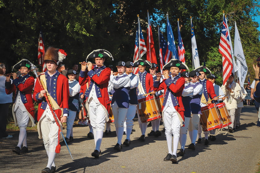 During Yorktown Day, the Fifes and Drums of Yorktown celebrate the town's history in full regalia.