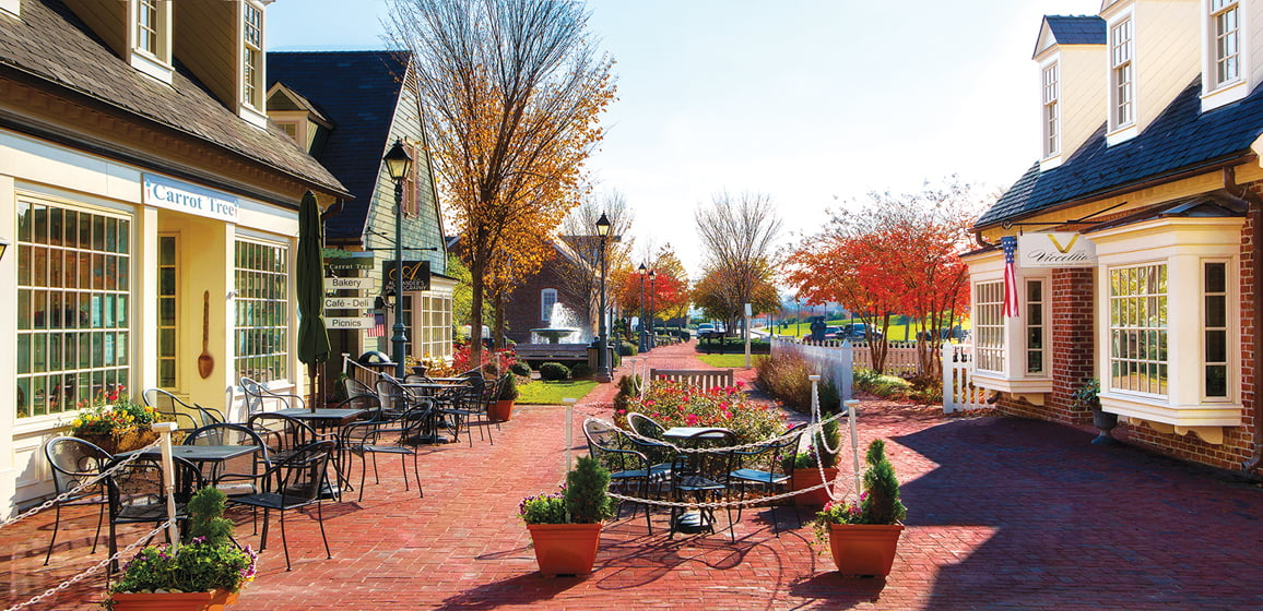 Riverwalk Landing features a shopping enclave with outdoor seating.
