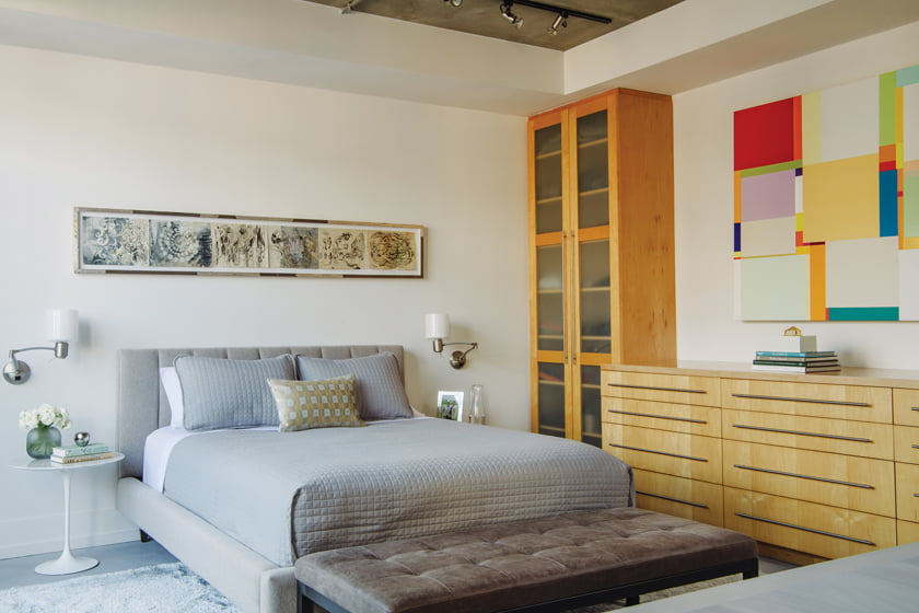 Art by Judy Pfaff in ink, encaustic and paper hangs above the bed, while a bold canvas by Richard Schur was purchased for the space.