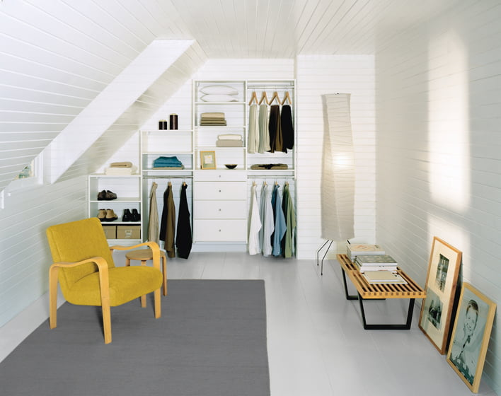 California Closets' attic space, redesigned for storage. © California Closet Company, Inc.