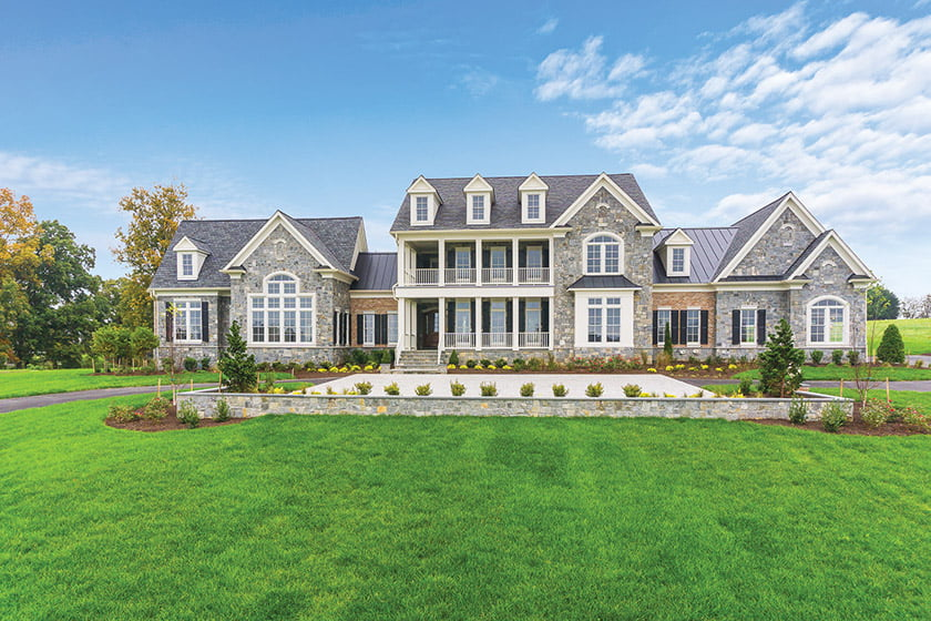 The stone-and-brick Lexington in Aldie, Virginia, received the award for Custom Home of the Year. © Bryant Payden