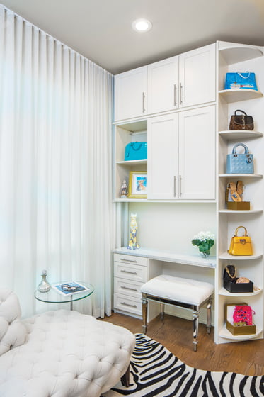 A vanity tucked into the closet by More Space Place. © Robert Meyers
