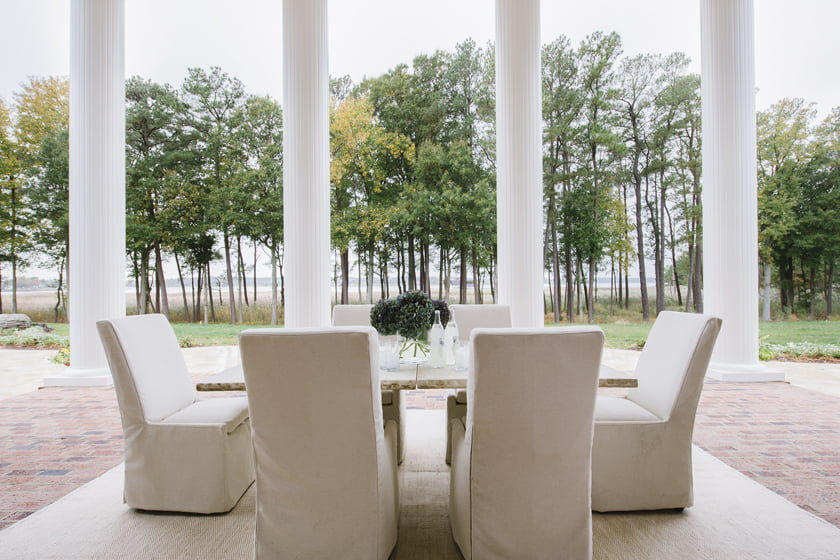 The terrace sports a stone table from Elegant Earth and chairs by Lane Venture.