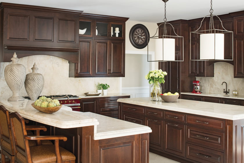 The remodeled kitchen centers around two islands.