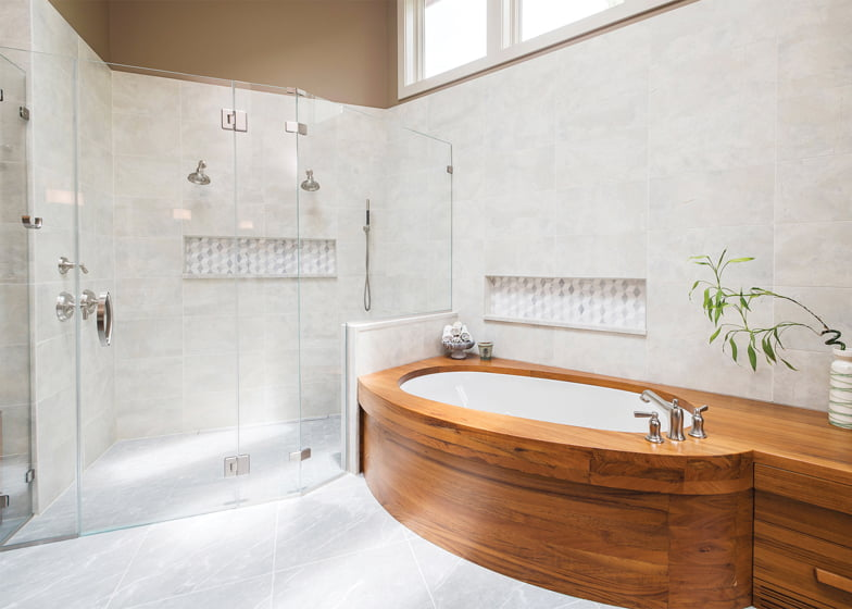 Sunnyfields and Delbert Adams Construction Group won the Award of Excellence for Bathroom/Remodel over $200,000. Photo: Whitney Wasson