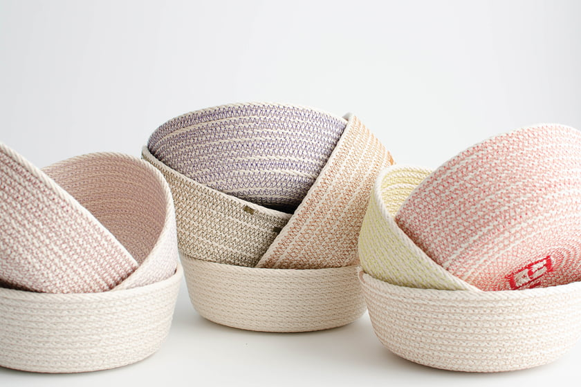 Finished sculptural and functional baskets await upcoming shows.