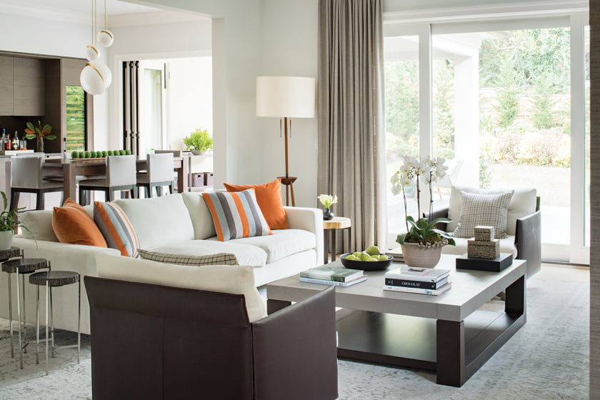 Earth tones dominate the great room.