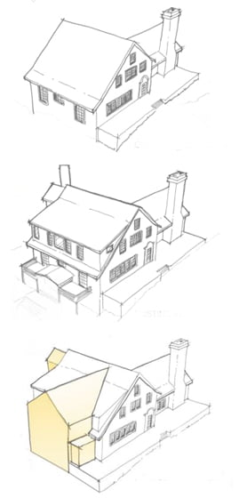 Diagrams show the original house, then a view with the previous addition and finally the finished project.