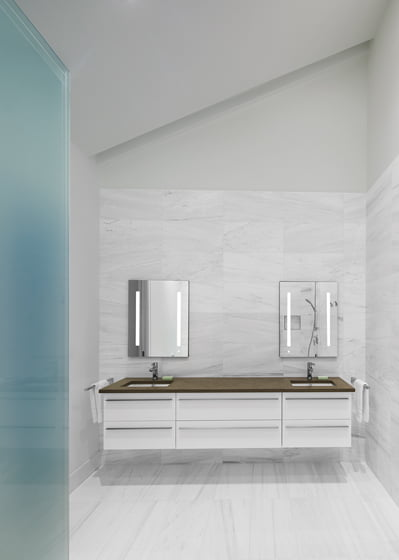 The vanity in the master bathroom is from Porcelanosa.