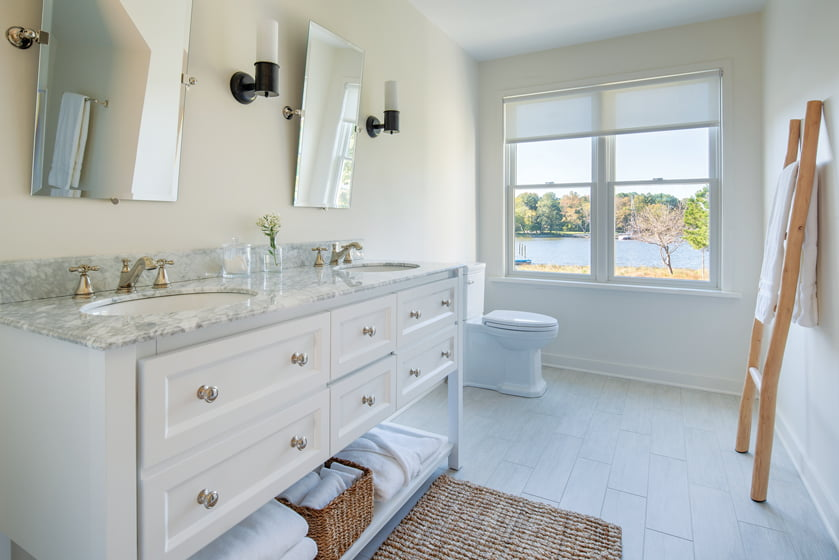 In the master bath, the homeowners wanted the feel of a spa.