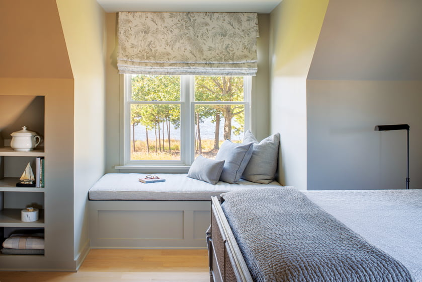 A guest room enjoys its own water view.