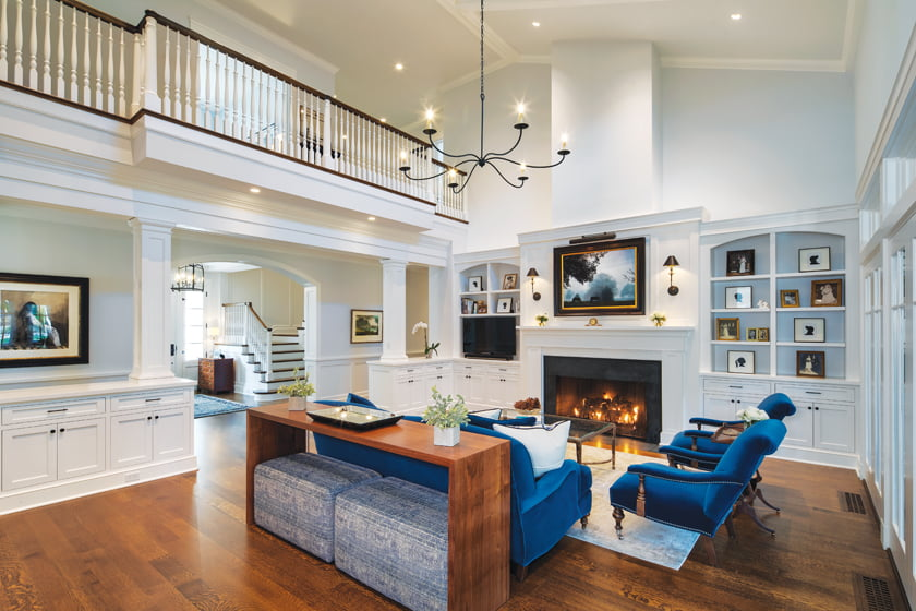 The homeowner sourced the blue-velvet living room suite by Lee Industries from Carolina Street in Fenwick Island.