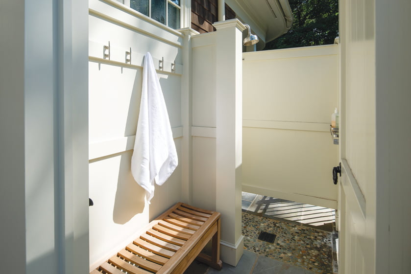 An outdoor shower was added for rinsing off after a day at the beach.