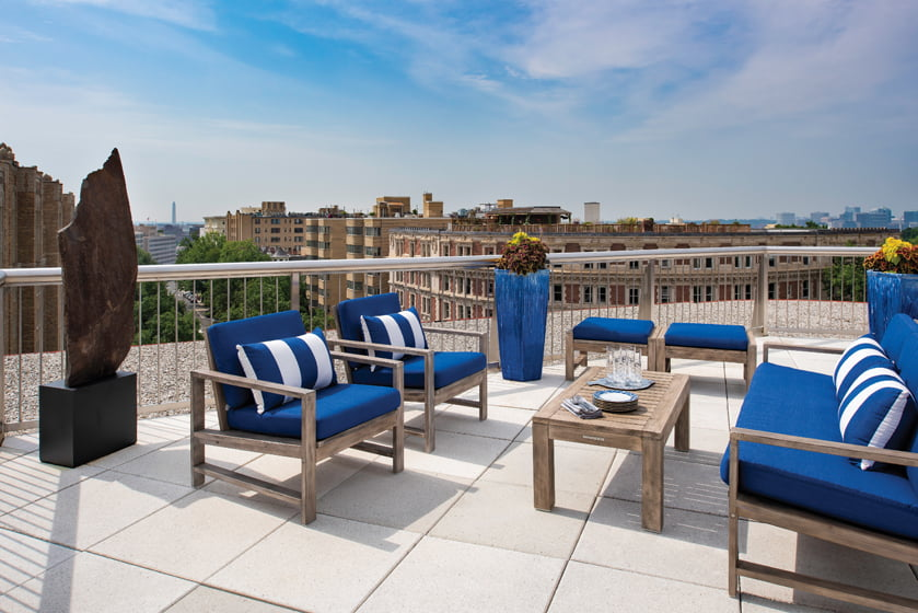 The owners love this ninth-floor aerie, which offers unencumbered views of the Washington Monument.