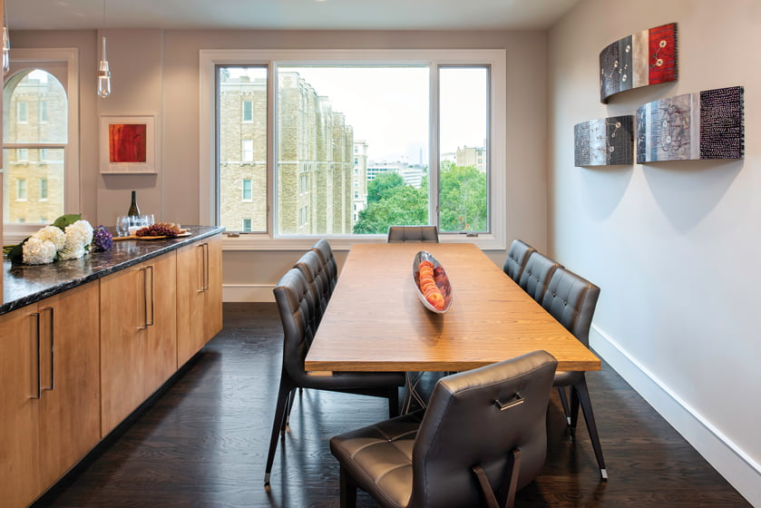 The dining room boasts views of the Washington Monument.