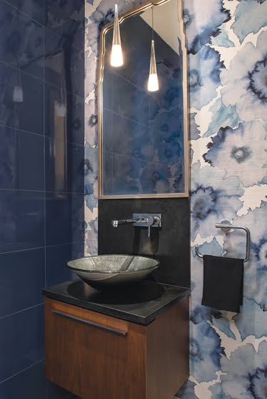 """Bloom wallpaper by Phillip Jeffries enlivens the """"jewel box"""" powder room."""