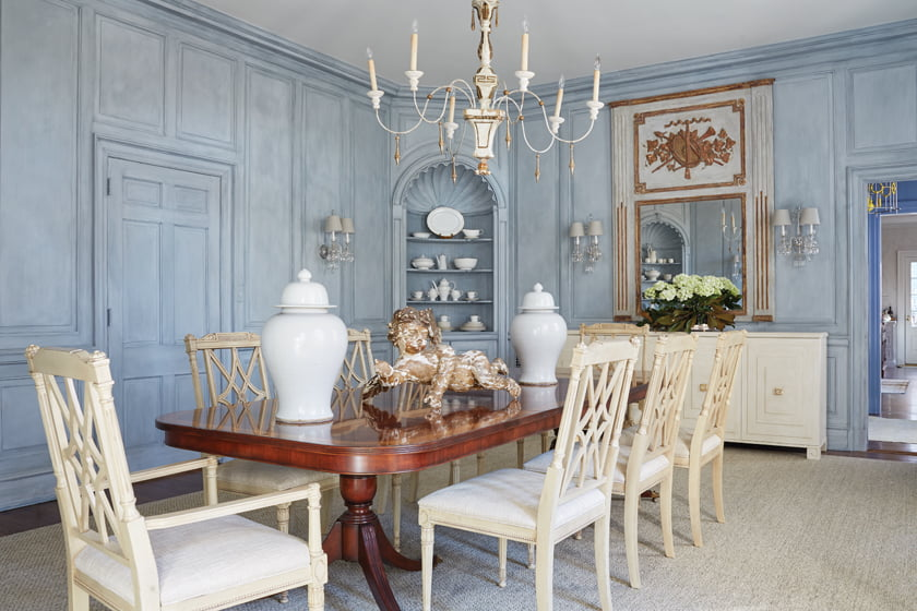 The faux finish on the dining-room walls is a backdrop to an antique Italian chandelier, existing table and Tritter Feefer sideboard.