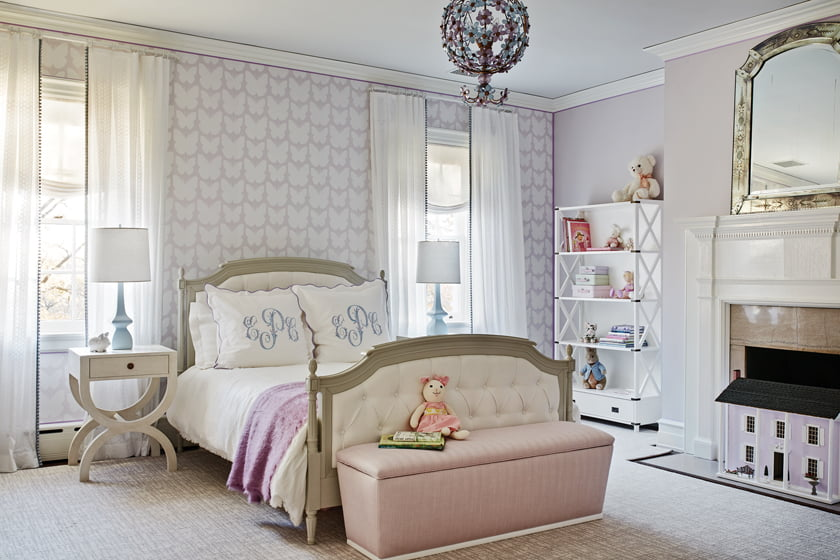 Thibaut wallpaper enlivens an accent wall in the daughter's bedroom.