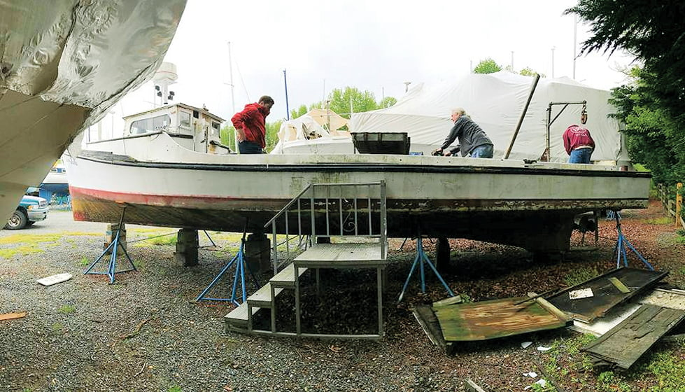 The boat was discovered in dry dock.