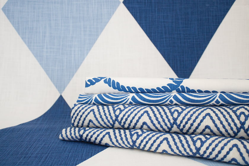 Schumacher's Nautilus line features Maximus as a backdrop for (top to bottom) Coralline and Avila Embroidery.