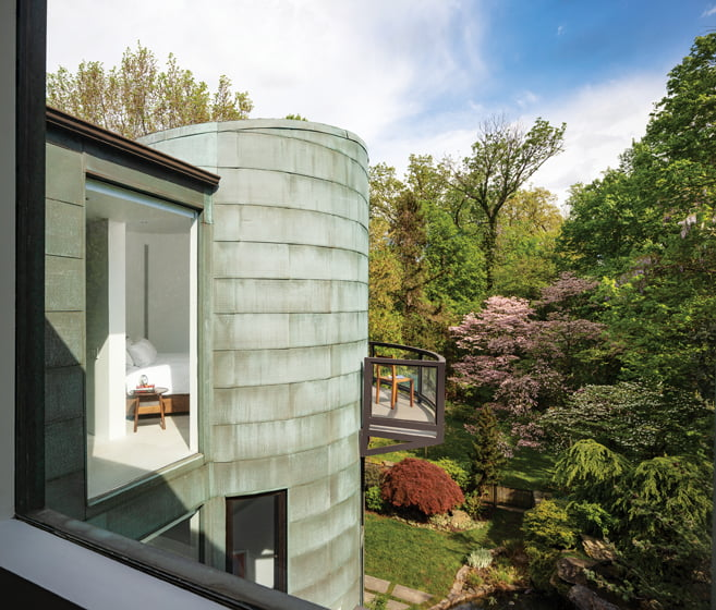 Jameson's tower addition clad in patinaed copper also maintains a modern, timeless appeal.