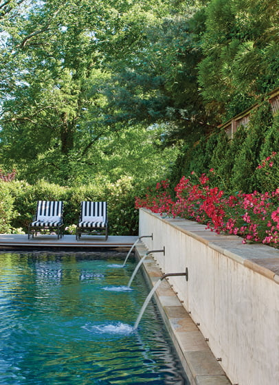 Jennifer Horn designed a lap pool and hardscape for a Mediterranean Revival-style home. © Anice Hoachlander