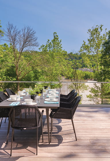 The owners can also dine al fresco on the main-level deck.