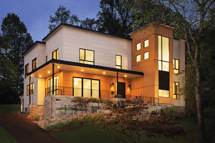A spec home in McLean by AV Architects + Builders integrates rectilinear volumes. © Todd Smith.