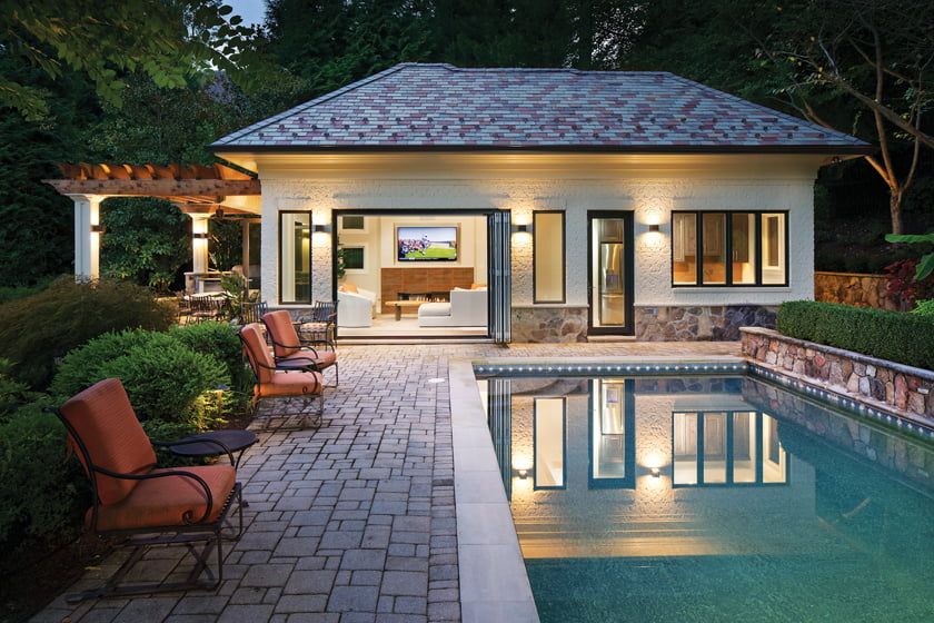 AV Architects + Builders designed a pool house in McLean with a modern vibe. © Todd Smith