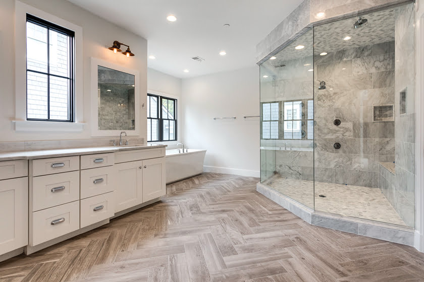Custom Traditional Home: Mid-Atlantic's McLean project; pictured, the master bath.