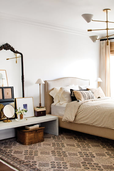 Giese created a collected-over-time feel in the master bedroom with treasured objects.