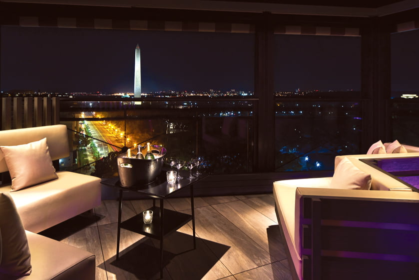 POV, the rooftop hot spot, features a lounge overlooking the Washington Monument.