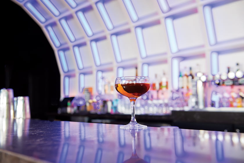 The Major, a twist on the Manhattan, is a specialty cocktail at POV.