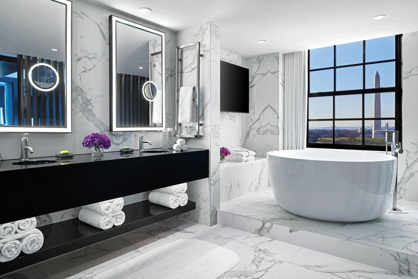 The Extreme Wow Suite boasts a marble-clad bath.