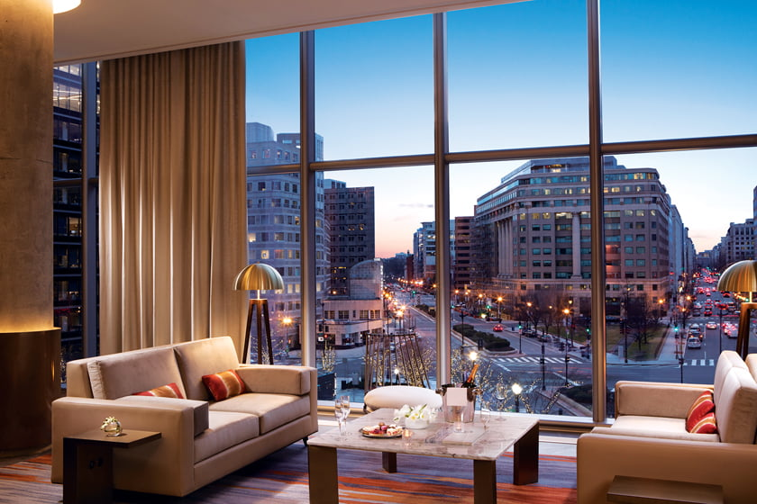A bird's-eye view from Estuary, located in the Conrad Washington DC hotel.