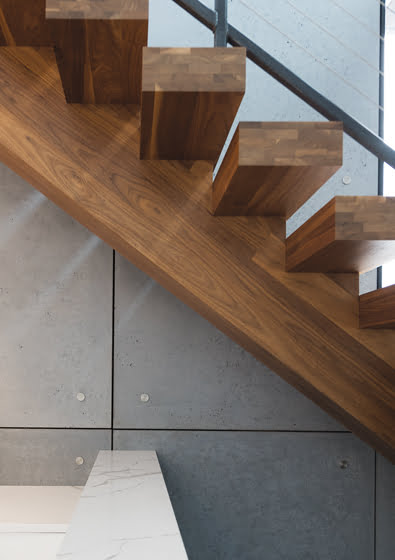 Concrete panels with stainless-steel studs line the stair wall. © Anice Hoachlander