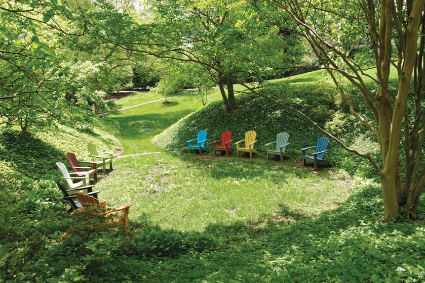 The grounds offer clearings for gathering.