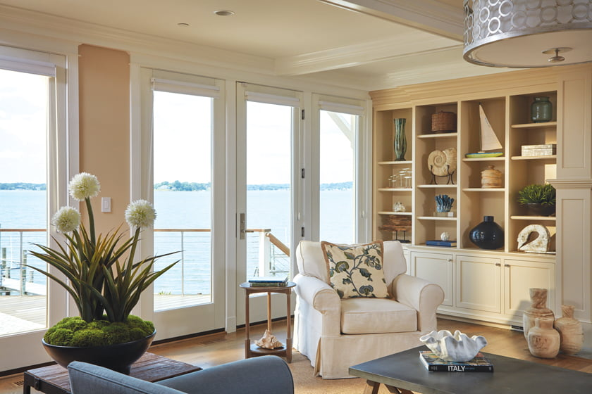 The family room boasts built-ins designed by Purple Cherry and fabricated by Lyndon Heath.