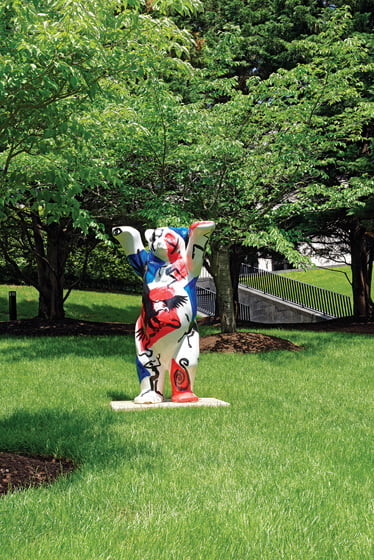 A United Buddy Bear on the property is one of many created in Germany in 2001 to promote peace.