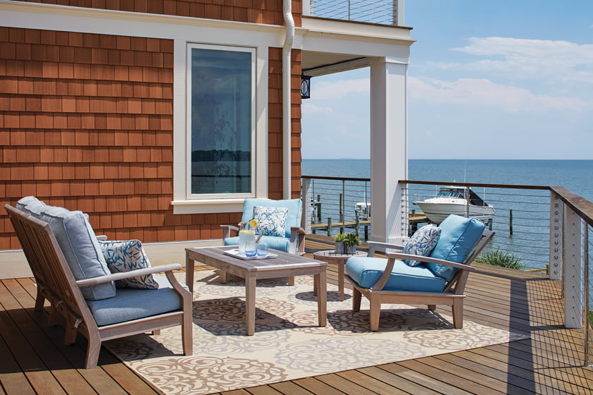 The deck, rebuilt out of ipe, is accessible via the family room.