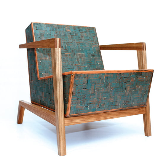 The Patchwork Chair combines a red-elm frame, birch core and poplar strips. © Chris Thomas