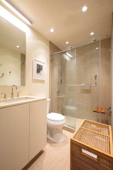 Both bathrooms offer universal design elements.