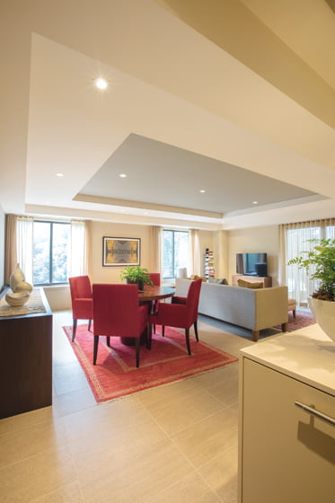 The airy, open-plan living area is defined by a ceiling niche that adds interest to the space.