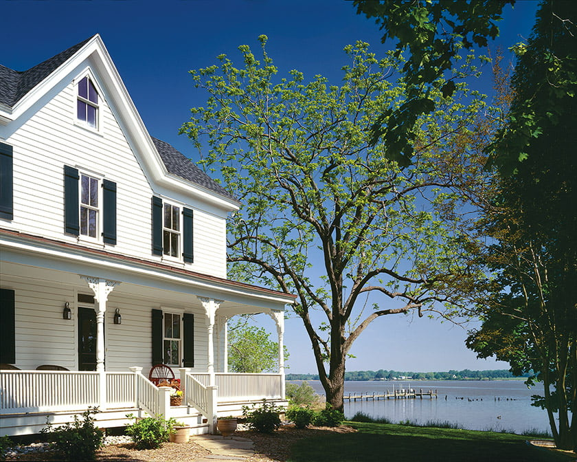 Another porch runs the width of the original home.